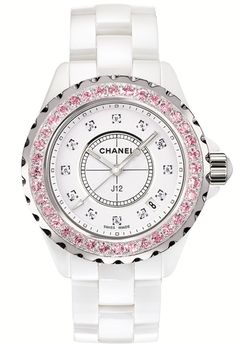 J12 Ref. H2010, 33mm White Ceramic with Diamond Dial and Pink Sapphire Bezel.-------------For more Information Call Us At: (866) 264-9759 Or Visit: haroldfreemanjewelers.com   www.youtube.com/watch?v=dXT8vy4e8c4 www.facebook.com/HaroldFreemanJewelers