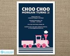 Train Invitation  Girl  Train Printable Train by EllisonReed, $16.00