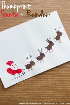 Toddler Christmas Crafts : Thumb Print Santa, Sleigh + Reindeer - A cute Christmas craft for all kids. Easy toddler Christmas crafts that kids of all ages can make. Diy Christmas Cards, Christmas Holidays, Christmas Ornaments, Baby Christmas Crafts, Christmas Card Ideas With Kids, Christmas Crafts For Kids To Make Toddlers, Easy Christmas Crafts For Toddlers, Christmas Projects For Kids, Christmas Decorations For Kids