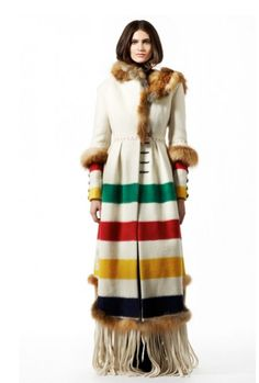 "Point Blanket coat with fur accents, by ""Harricana par Mariouche"" - La Compagnie de la Baie d'Hudson/HBC Hudson Bay Blanket, Looks Style, My Style, Hippie Chic, Native American Clothing, Blanket Coat, We Are The World, Casual, Ideas"