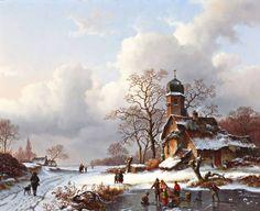 Anton Karssen - Winterlandschap met schaatsers en jager met hond