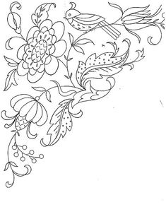 Embroidery designs bird and vine embroidery pattern