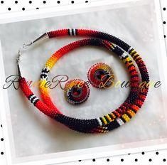 Hot! Beaded rope necklace & earrings set. #ndnbling #powwowbling #nativebling #beadedrope #beadedearrings #ndnchick