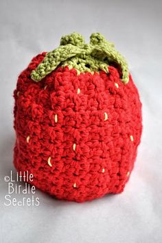Raspberry and Strawberry Crochet hat Pattern w/ hat head size chart