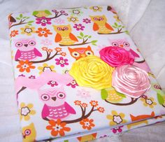 Baby Shower Guest Book  Owl Yellow Pink Orange and by itsmyday, $55.00