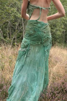 RESERVED Sea garden long skirt  Fae nature spirit by FractalWings