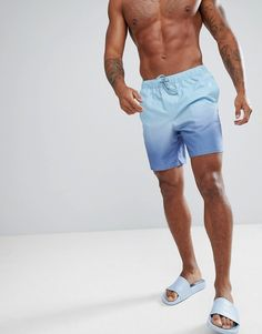 ee2be9225a Asos Swim Shorts In Blue Ombre Mid Length Blue Ombre, Mid Length, Swim  Shorts