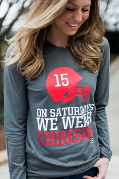On Saturday We Wear Crimson Women's Gameday Alabama Long Sleeve T-shirt University of Alabama Crimson Tide Roll Tide Roll - mens cotton shirts, maroon mens shirt, denim and flower mens shirts *ad