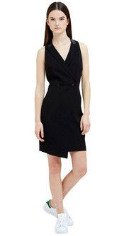 Lightweight Crepe Wrap Dress in Black