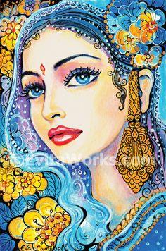 Indian folk art beautiful Indian woman painting Indian decor art print affordable art gifts artprint, signed print, 4x6 7x10.5