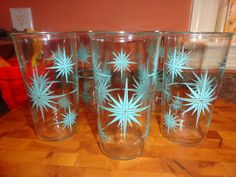 Hazel Atlas atomic sour cream glasses - collectible and very funky