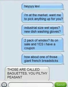 "Tch. Idiot brat calling it a ""giant French breadstick""."