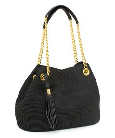 Another great find on #zulily! Black Chain-Handle Tote #zulilyfinds
