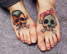 Skull couple tattoo design for feet - tattoos book - tattoos Cat Tattoo Designs, Couples Tattoo Designs, Skull Tattoo Design, Skull Tattoos, Foot Tattoos, Girl Tattoos, Tattoos For Women, Tatoos, Skull Couple Tattoo