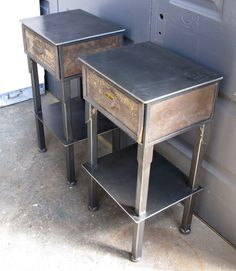 """these two steel-framed tables hold two vintage drawers from an old apothecary. The original handwritten labels are still intact and they have a perfectly aged """"alligator finish"""". Polyurethane and wax finish with adjustable feet for floors that are not level.        Dimensions: 30 1/4"""" h x 16 1/4"""" w x 13 3/8"""" d      Quantity: 2 (sold as a set)"""