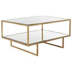 Unique Coffee Table, Large Coffee Tables, Coffee Table With Storage, Coffee Table Design, Glass Furniture, Table Furniture, Low Shelves, Glass Shelves, Antique Mirror Glass