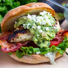 Tequila Lime Grilled Chicken Club Sandwich with Guacamole and Roasted Jalapeno Mayo (from Closet Cooking)