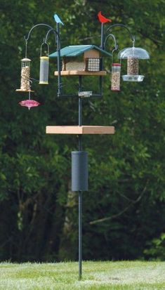 """The """"ultimate"""" Advanced Pole System® set-up, available only at Wild Birds Unlimited, can also include a hummingbird feeder. Bird Feeder Poles, Bird House Feeder, Wild Bird Feeders, Diy Bird Feeder, Wild Birds Unlimited, Bird Feeding Station, Bird House Kits, Bird Aviary, How To Attract Birds"""