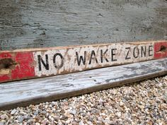 Would make a cute back for a bench. IN STOCK No Wake Zone Rustic Distressed Nautical Boating Wood Sign Boat Decor, Lake Decor, Coastal Decor, No Wake Zone Sign, Beach Wood Signs, Store Signage, Painted Driftwood, Lake Signs, Wood Cutouts