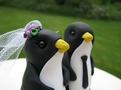 custom Penguin wedding cake topper RESERVED for by theaircastle, $125.00