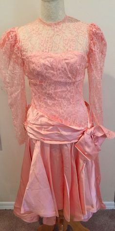 0768703383f Details about Vtg Peach Lace Satin Prom Dress 80s 90s Bow Sash Party Costume  Bridesmaid