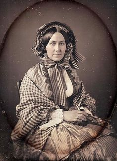Super clear pic from pre-Civil War era, love the checks  stipes to gethers...so much in this =shawl, bonnet, bodice...