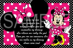 SALE Custom Pink Minnie Mouse Invitation with by SkyeCreation, $10.00