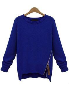 pull zippé en tricot manche longue -bleu  22.67