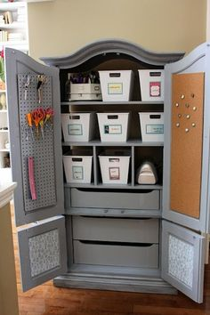 FURNITURE REVAMP: Re-purposed Armoire = Excellent New Craft Storage Area!! <3