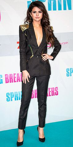 Selena Gomez in a daring futuristic suit with a sheer back at the Berlin premiere of 'Spring Breakers'