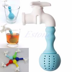 Faucet Tea Infuser Loose Tea Leaf Strainer Herbal Spice Silicone Filter Diffuser #Unbranded