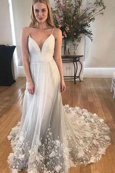 Unique Spaghetti Strap Long Cheap Tulle Prom Dresses With Lace Applique Open Back Prom Dresses, Tulle Prom Dress, Cheap Prom Dresses, Lace Dress, Girls Dresses, Flower Girl Dresses, Formal Dresses, Gown Dress, Quinceanera Dresses