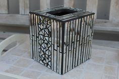 Mosaic silver mirror tissue box cover by 3GearsGlassAndGifts on Etsy