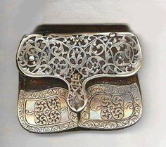 """Pouch, made of silver and leather, from Morocco; well used and of good age. Posted by Linda Pastorino on """"ethnic jewels""""."""