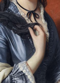 Portrait of a lady with roses in her hair (detail) Franz Xaver Winterhalter (1805-1073)