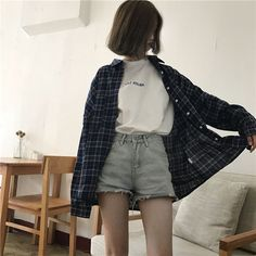 Discover recipes, home ideas, style inspiration and other ideas to try. Grunge Outfits, Plaid Shirt Outfits, Edgy Outfits, Korean Outfits, Retro Outfits, Cute Casual Outfits, Fashion Outfits, Plaid Shirts, Oversized Plaid Shirt Outfit
