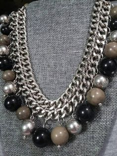 CHUNKY Statement Chain and Bead Bib Necklace Marble Grey