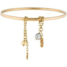 18K yellow gold Loree Rodkin bangle with textured finish featuring two sliding textured chain-link accents with diamond embellished cross charm, pearl bead cha…