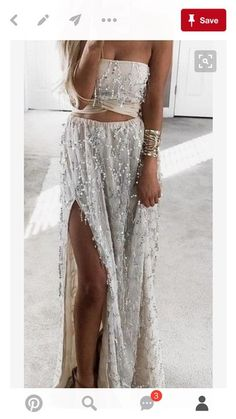 Detailed Embellished Jewelled Silver And Cream Two Piece Alternative Prom Dress