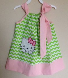 Custom Made Pillowcase Dress- Lime Chevron with Hello Kitty Machine Embroidered Applique & Solid Lt. Pink Hem and Ribbon- 2T-5T on Etsy, $17.50