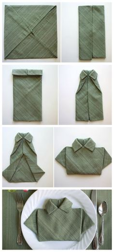 Brett servietter til selskapet og etikette for bruk av servietter Paper Napkin Folding, Christmas Napkin Folding, Paper Napkins, Folding Napkins, Fabric Origami, Fathers Day Crafts, Deco Table, Decoration Table, Napkin Rings