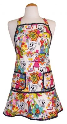 Los Novios Apron from D-Lux 57. Fiesta Favorite for the Day of the Dead hostess. Packaged in a matching keepsake envelope. Made in the USA. $57