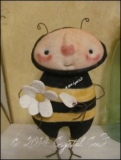 Whimsical Bee daisy doll country Primitive Spring by emsprims, $20.00