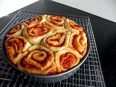 Pizza rolls - It was a big hit. I used a different bread recipe, because I happened to be making bread. We added a little more sauce on the top and then cheese for the last 5 minutes of baking.