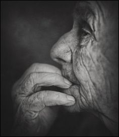 Untitled... Old woman, hand, fingers, thoughtful, lines of life, wrinckles, beauty, aged, cracks of time, powerful, intense, strong, portrait, photo b/w.