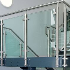 Wall mount balustrade post bracket for upright stainless steel balustrade posts. Baluster Wall Fitting for Modular System. Steel Railing Design, Stair Railing, Staircase Design, Railings, Stainless Steel Balustrade, Frameless Glass Balustrade, Balustrades, Modern Stairs, Wood And Metal