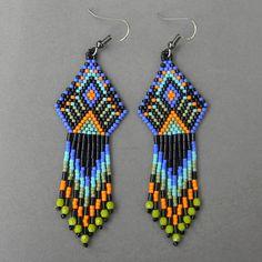 Ethnic style seed bead earrings   dangle beaded by Anabel27shop,