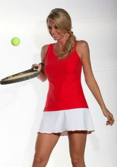 The Red Carpet: Love Tennis Dress: Performance Red fabric with white ruffle Show No Love Tenniswear. $78.00