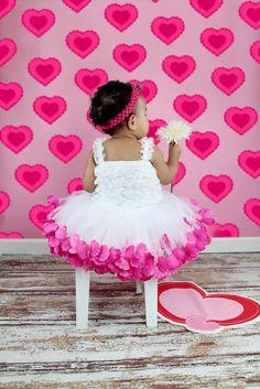 Rose Petal tutu Valentines day Birthday Photos Flower Girl.