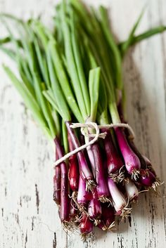 ☂ healthy eating and drinking Health is wealth. Purple Spring Onions by tartelette, via Flickr